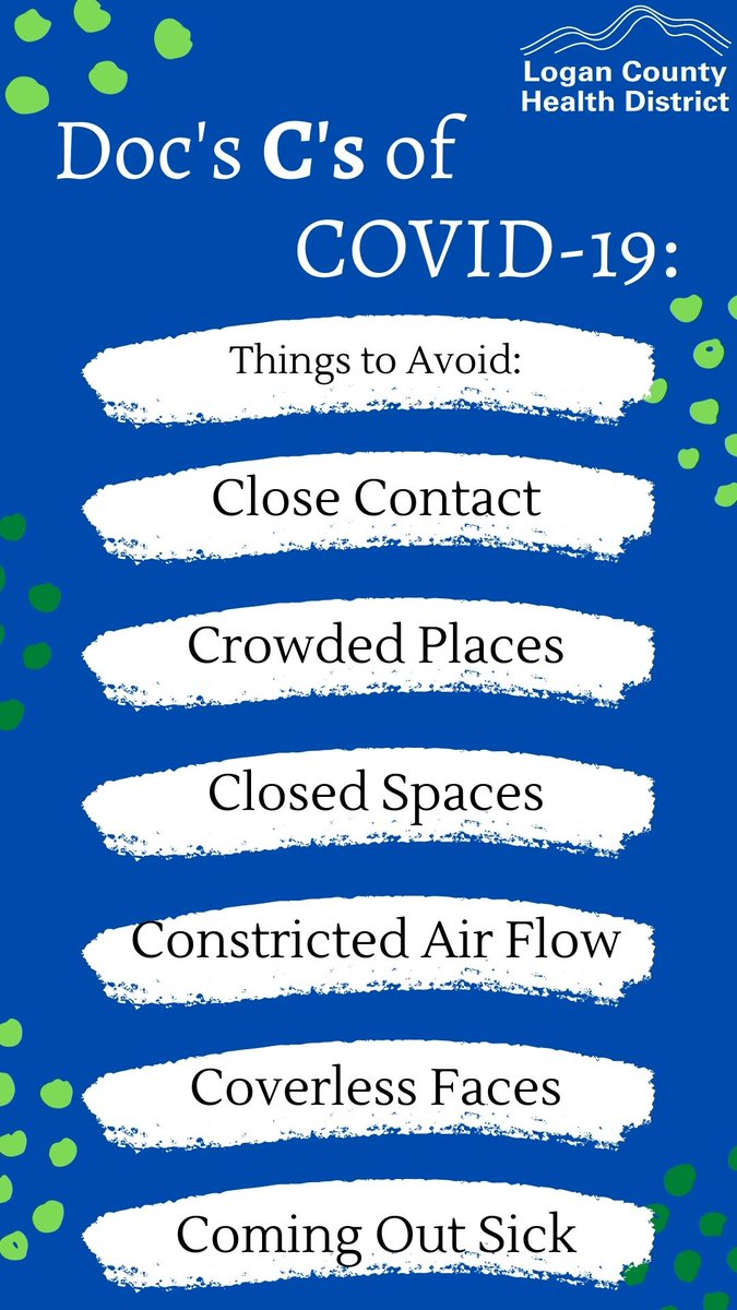 Doc's C's of COVID?  Yep, Doc's C's of COVID!   Be sure to AVOID:⚠️Close Contact ⚠️Crowded Places⚠️Closed Spaces⚠️Constricted Air Flow ⚠️ Coverless Faces⚠️Coming Out sick⚠️ Doc explains here:   #PublicHealth #COVID19 #CoverYourFace #CoverYourFaceGiveMeSpace