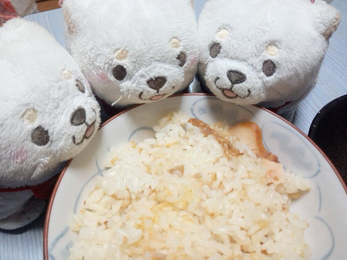 test ツイッターメディア - ( ・ิω・ิ)「晩御飯♪今日は、鶏中華おこわ、たまごスープ、肉と茄子の旨辛炒め♪」  (*´ω`*(*´ω`*(*´ω`*)「おこわ?ごはんですよね?」 ( ・ิω・ิ)「お米を蒸したのをおこわと言うんだけど、炊飯器でやった♪」  (๑•🐽•๑(๑•🐽•๑)「おこわに合うかな?」  全「いただきまーす♪」  #もちしば https://t.co/q5K5nkQUtG