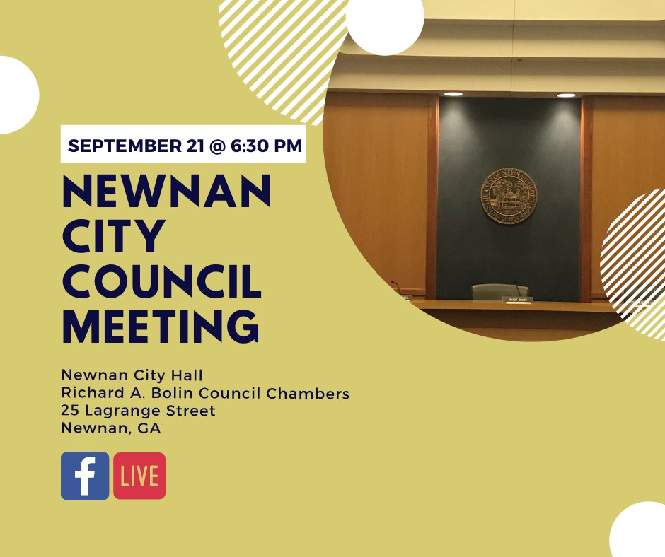 Your Newnan City Council meets TODAY, September 21, at 6:30 pm at Newnan City Hall in the Richard A. Bolin Council Chambers. Not able to attend view the meeting live on our FB page. To view the agenda, click here: