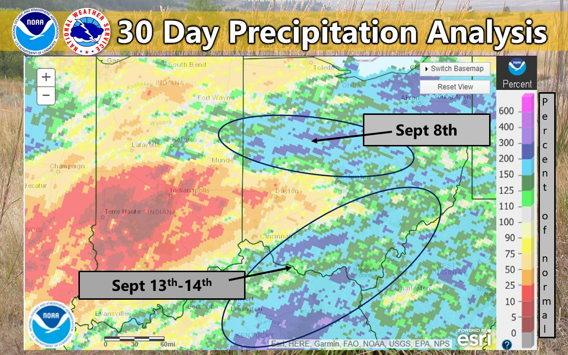 We know it has been dry for some of you, but September hasn't been rain free for everyone. Two heavy rain events occurred this month and the footprint of these events is still visible in the 30 day precip analysis. #ohwx #inwx #kywx
