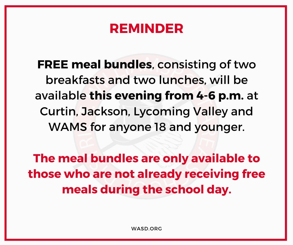 REMINDER — FREE meal bundles, consisting of two breakfasts and two lunches, will be available TODAY from 4-6 p.m. at @AndrewGCurtin, @JacksonWASD, @lycovalley and @WAMSMillionaire for anyone 18 and younger. 🥪