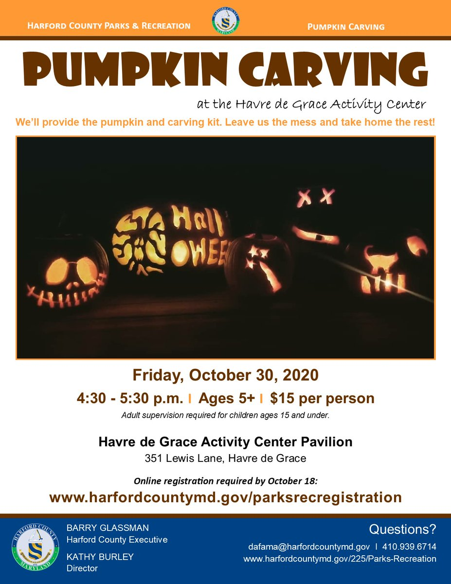 #Harford Parks and Recreation will help you get in the Halloween spirit with pumpkin carving at the Havre de Grace Activity Center Pavilion, 351 Lewis Lane, Havre de Grace on Friday, October 30 from 4:30-5:30 p.m. Register at .