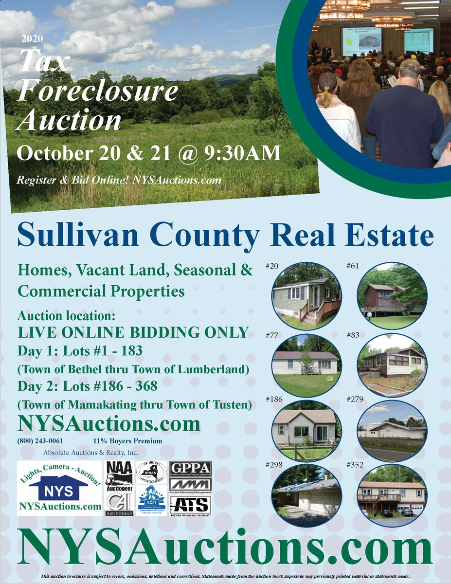 Sullivan County's annual Tax Foreclosure Auction is coming October 20-21. Details in link below...