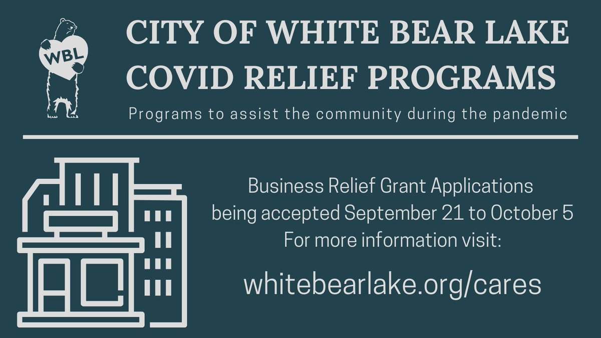 The City is pleased to announce SPEDCO is now accepting applications for the City of White Bear Lake Business Relief Grant program.  Applications will be accepted until October 5.  More info about eligibility and how to apply can be found here: ...