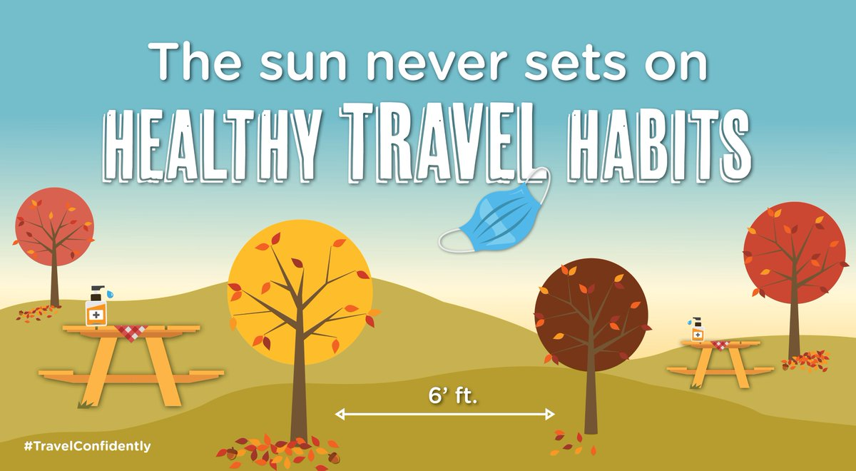 Temperatures may be falling, bu tthat doesn't mean you should drop healthy travel habits; #WearAMask, keep a safe distance and wash your hands frequently. #TravelConfidently