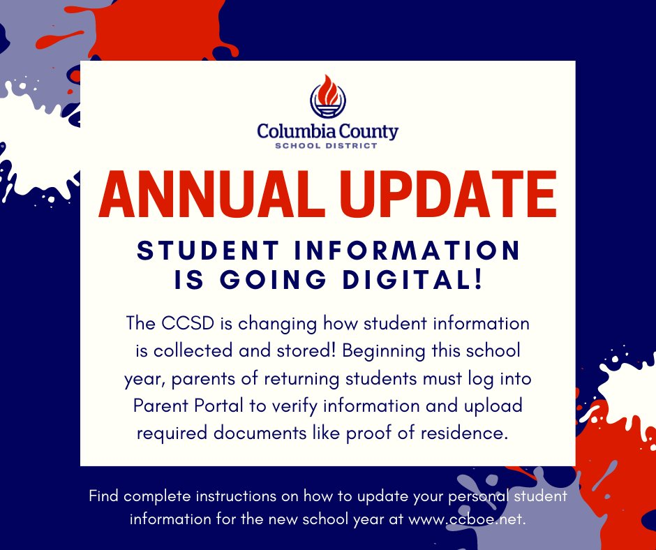 Attention Parents! Please complete the Annual Update via Parent Portal ASAP! Upload all information required for enrollment no later than October 9. Find a step-by-step video tutorial on any school website, or click here: