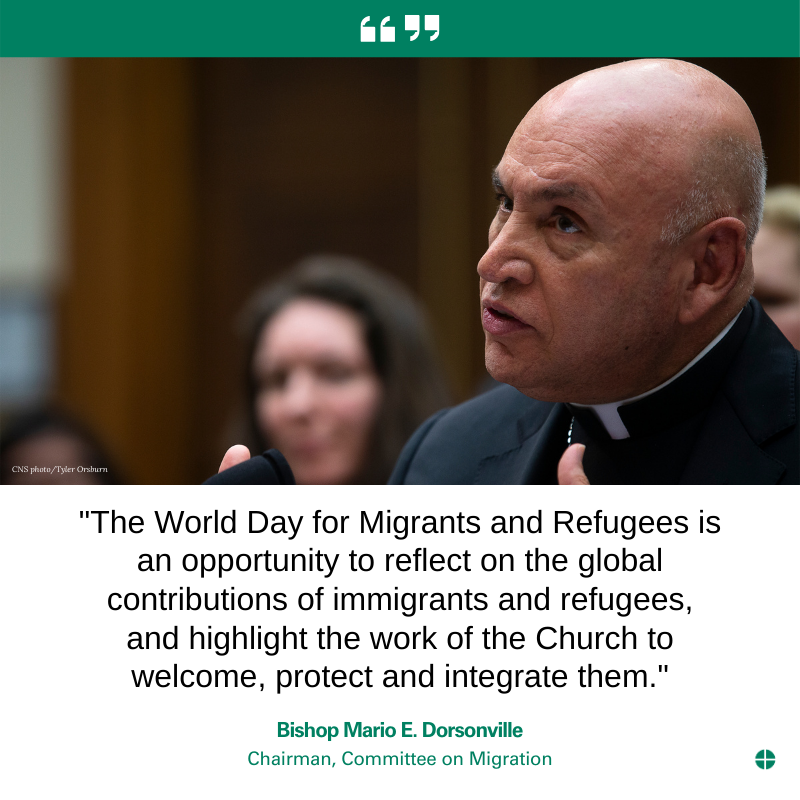 """test Twitter Media - """"The World Day for Migrants and Refugees is an opportunity to reflect on the global contributions of immigrants and refugees, and highlight the work of the Church to welcome, protect and integrate them."""" Bishop Mario E. Dorsonville on World Day for Migrants and Refugees #WDMR. https://t.co/EQme0wupnQ"""