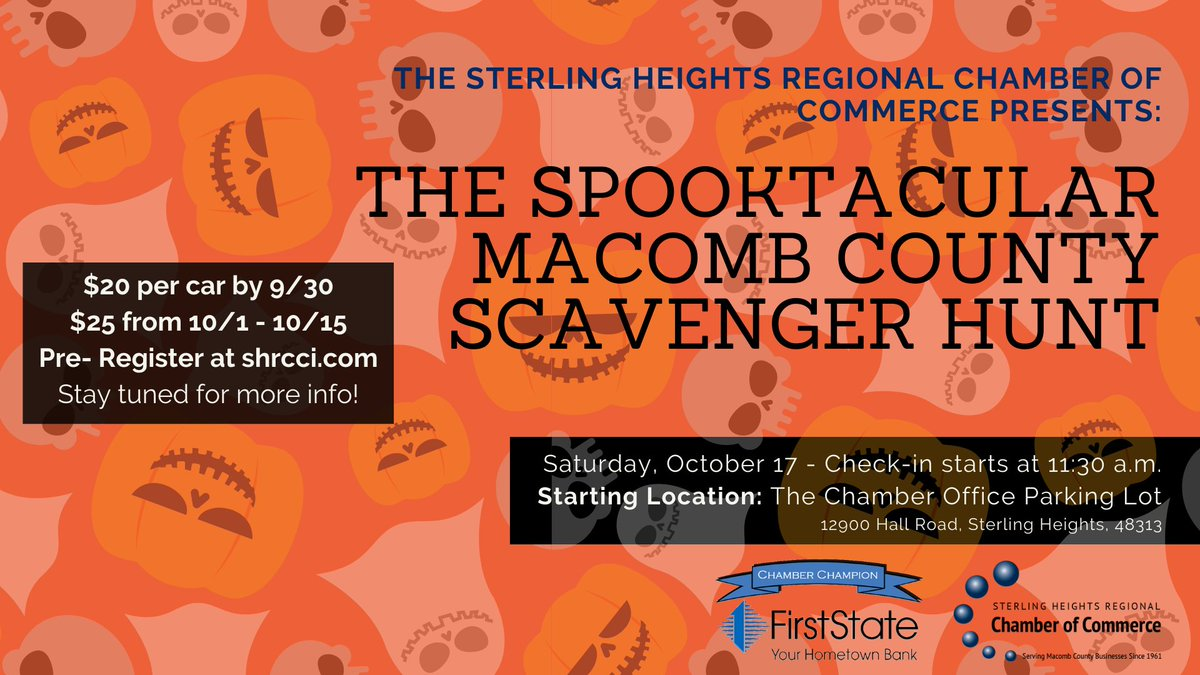 Join us for some spooky fun on Saturday, October 17. Follow clues to local Macomb county businesses to unlock great prizes!   Pre-registration is required for this event:   Pre-register by 9/30 for $20 Pre-register from 10/1 - 10/15 for $25