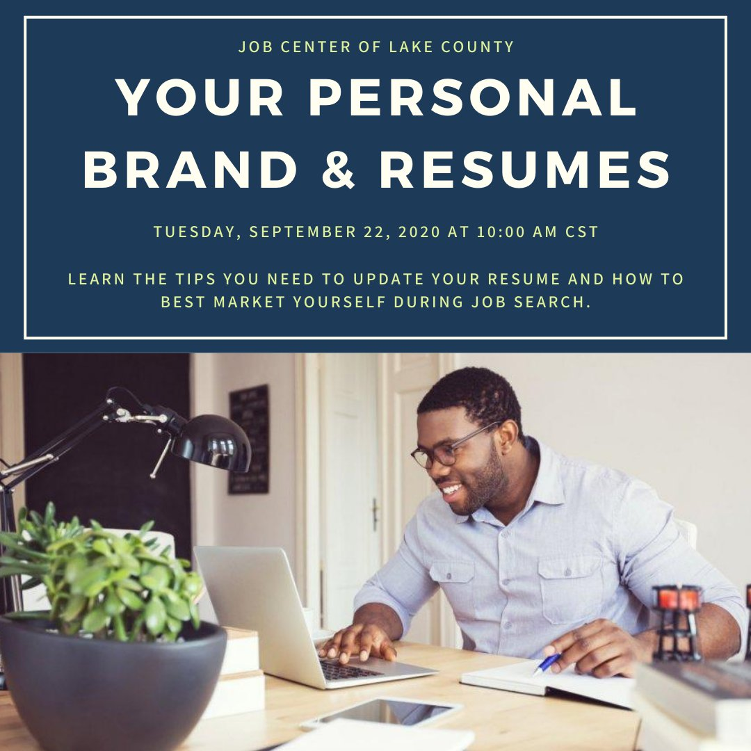 """Are you seeking a job or changing careers? Learn how to customize your resume and other tools to help you land a great job! Attend the online workshop """"Your Personal Brand and Resumes"""" TOMORROW at 10 am CST Register now:"""