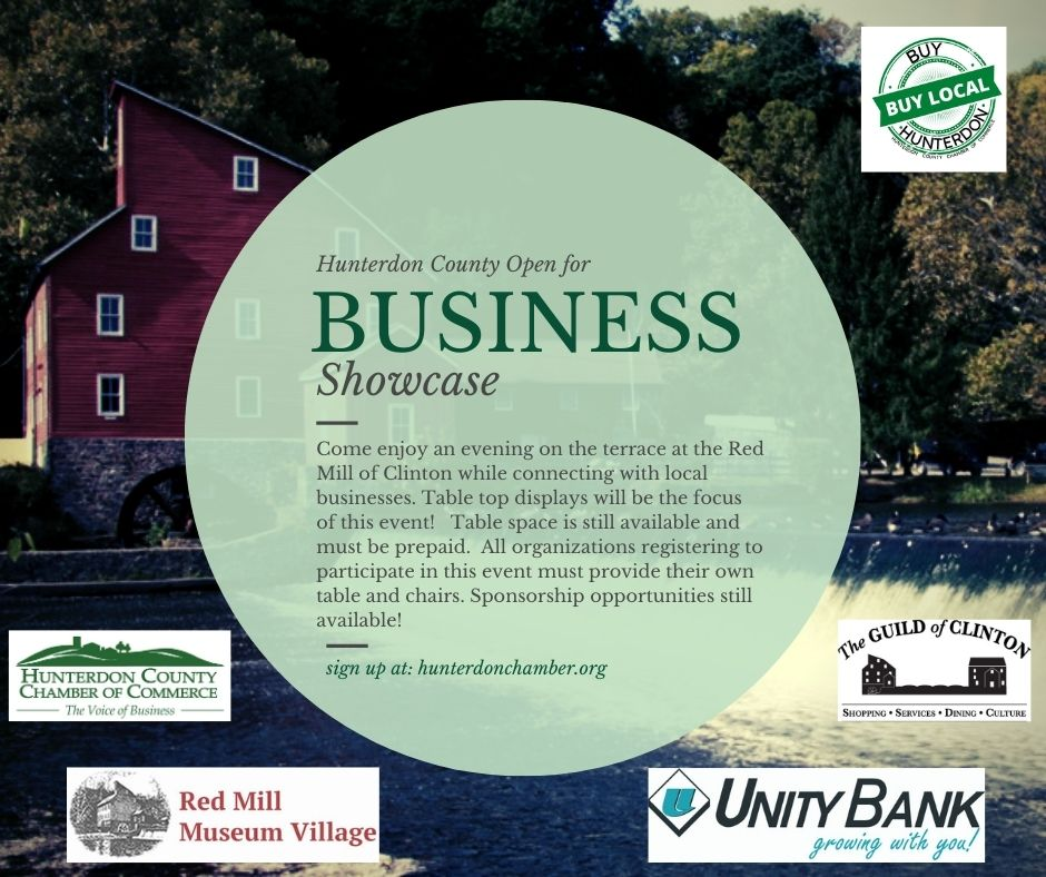 Join us for a Business Showcase at the The Red Mill Museum- October 13th from 4:30 PM to 6:30.  Tabletops available - Registration Required to Attend:   Thank you to our sponsors: The Red Mill Museum Village, Visit Clinton, NJ, Unity Bank, Clean Suite.