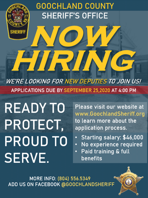 The Goochland County Sheriff's Office is now hiring for the position of Deputy Sheriff.  Please visit   for more information, employment application and position requirements. #Jobs #employmentopportunities