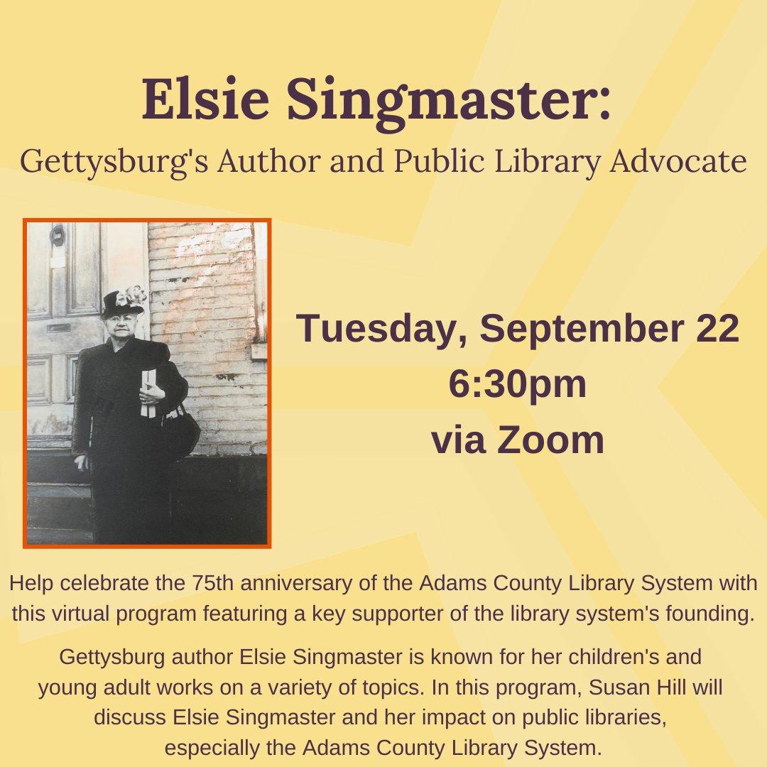 Last chance to register for tomorrow's Elsie Singmaster program!