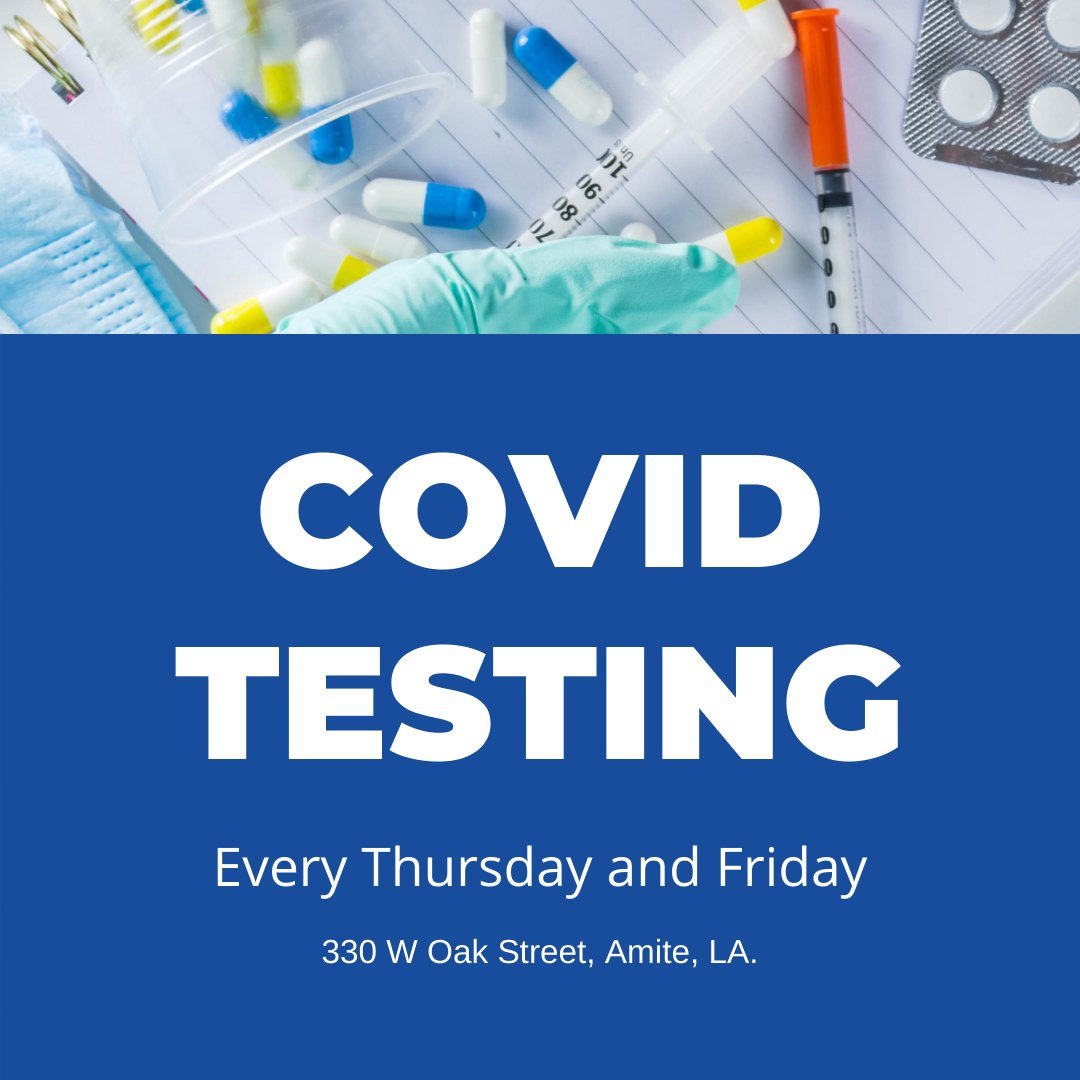 Starting Thursday, September 24th, the date and location of this free COVID-19 testing will be available every Thursday and Friday, continuing every week until further notice at the Office of Public Health 330 W Oak Street, Amite, LA. Learn more here>>>
