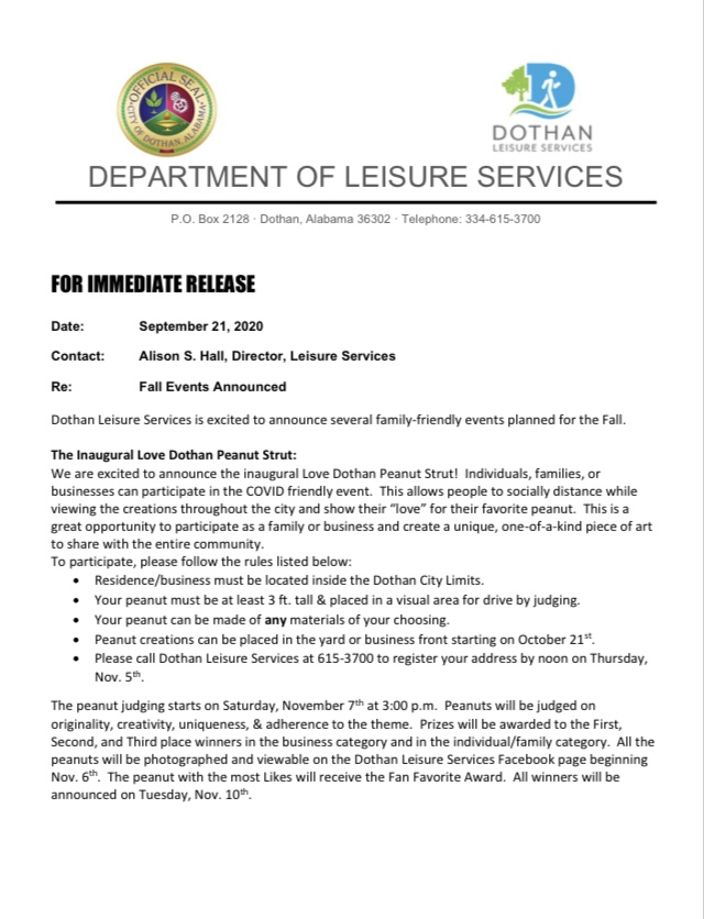 Press Release - Leisure Services' Fall Events