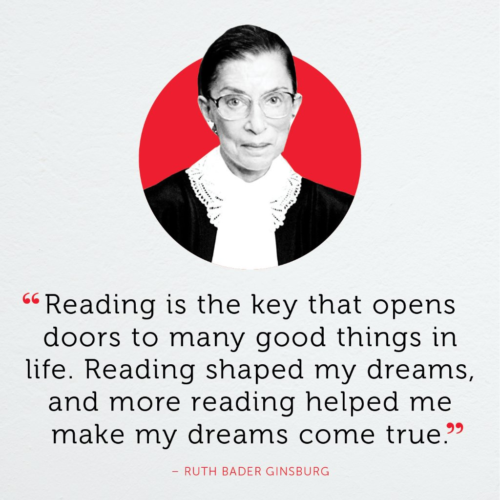 RT @Scholastic: Let us all be inspired by her example. Rest in peace, Justice Ginsburg.