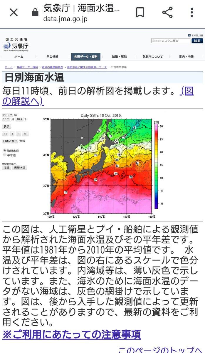 test ツイッターメディア - 去年、甚大な被害が出た台風19号の時より日本近海の海水温が高いのだけど… 大丈夫なのか?🤔 (完全な素人考えだから大丈夫であって欲しい) https://t.co/8pHD8mgsv9