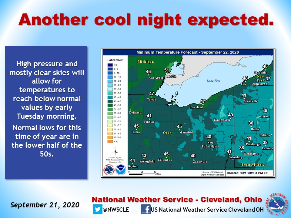 RT @NWSCLE: A cool morning as we head into Fall on Tuesday.