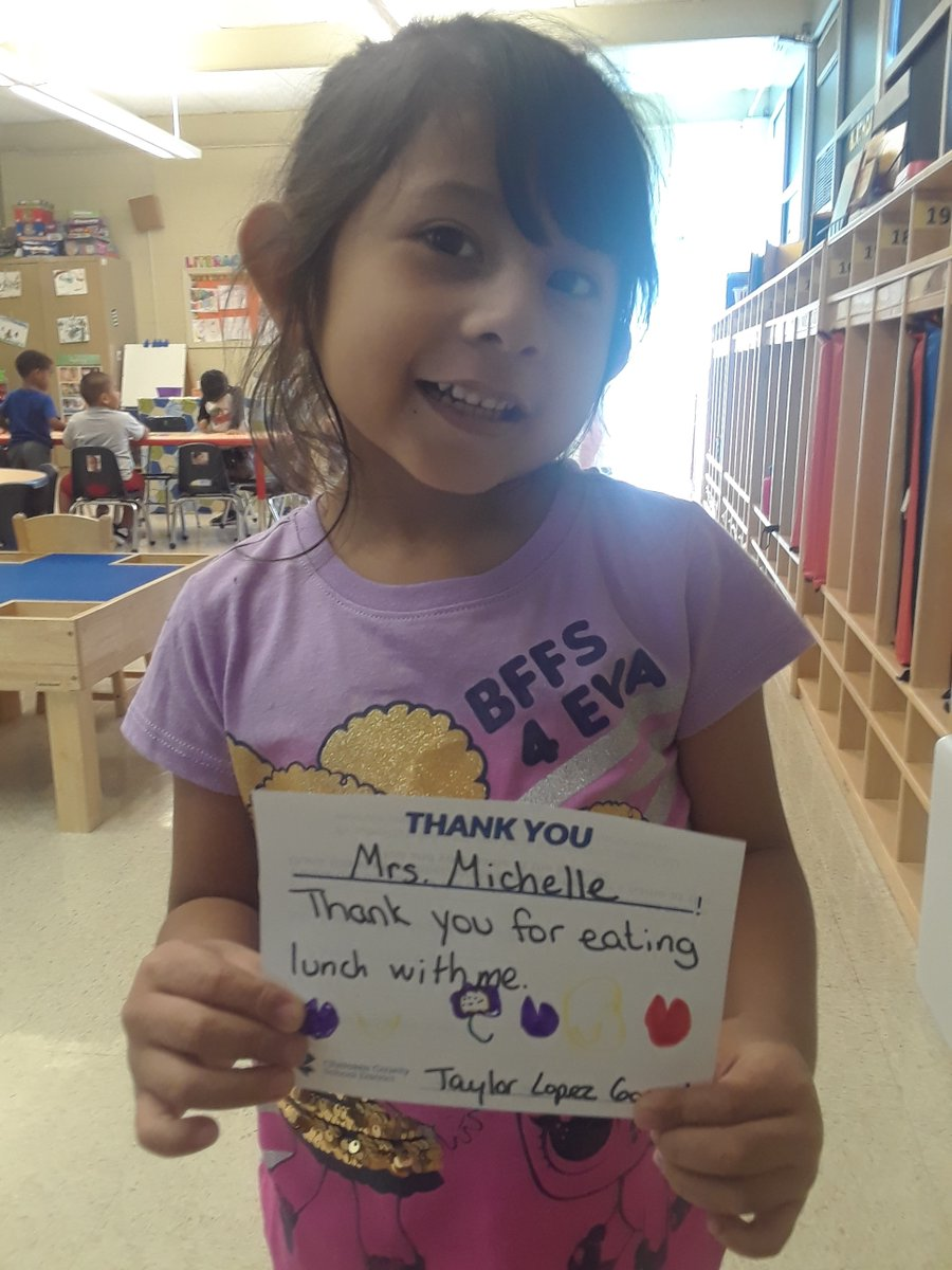 #thanksCCSD gives students the opportunity to share how a teacher or other staff member has made a positive difference in their life! Here's one from Ralph Bunche Center prekindergartner Taylor Lopez Gonzalez to assistant teacher Brenda Meeks.  #CCSDunited