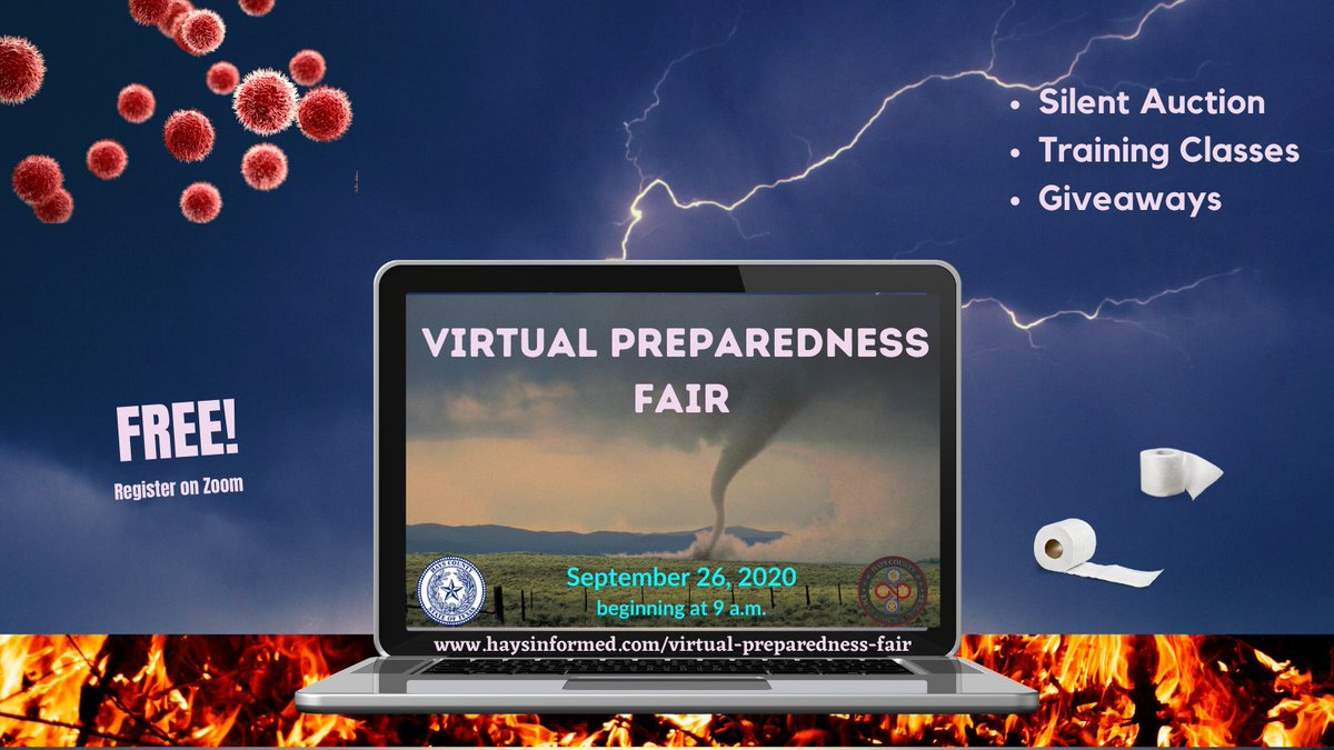 Hays County is hosting a Virtual Emergency Preparedness Fair this year! Register in advance to take classes, see helpful videos and watch important presentations. Begins @ 9 a.m. Sept. 26. Get all the details:  Zoom registration: