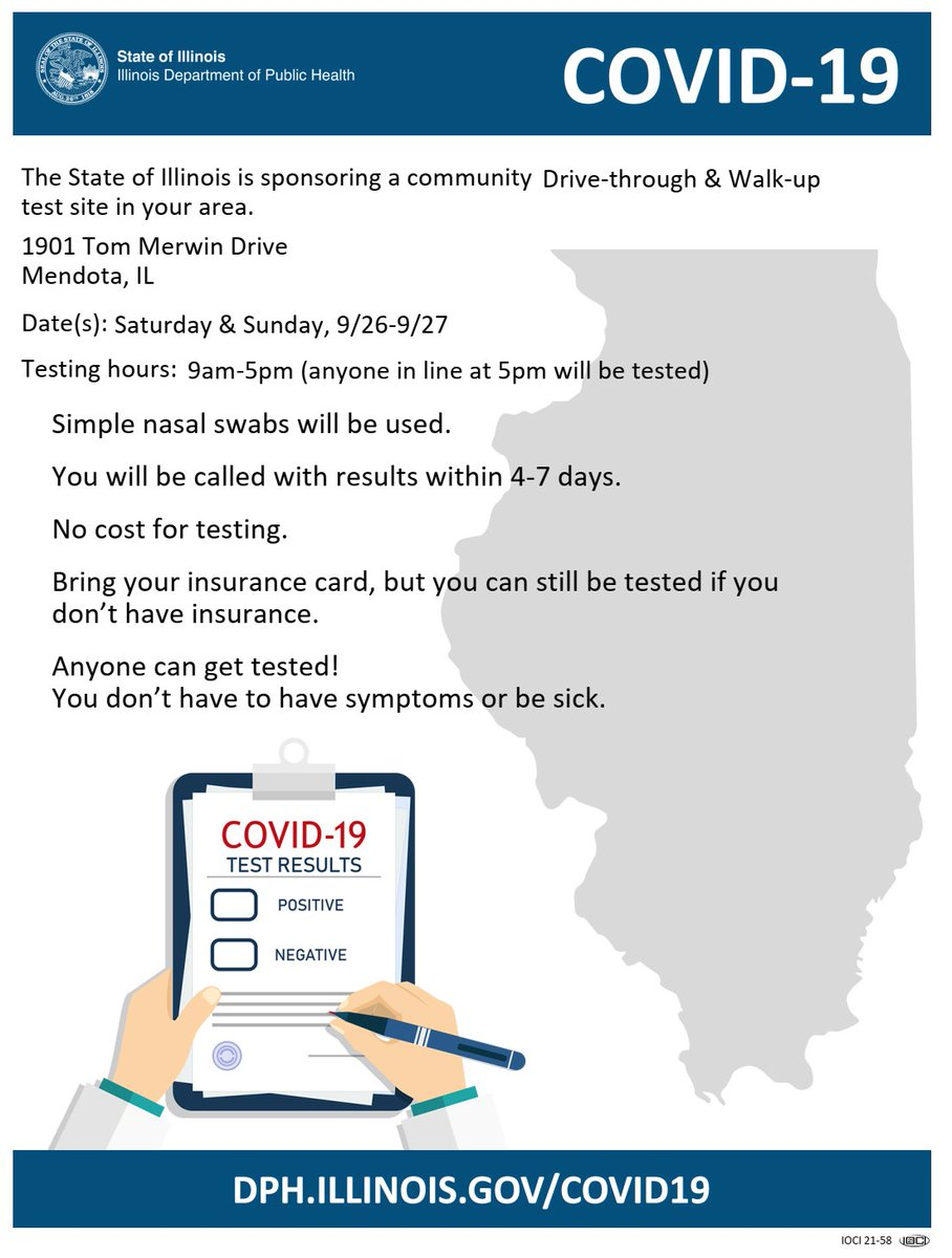 On Saturday, September 26th and Sunday, September 27th, we will be hosting a mobile COVID-19 testing site (funded by IDPH) from 9am - 5pm at the Mendota Civic Center - 1901 Tom Merwin Dr., Mendota, IL.