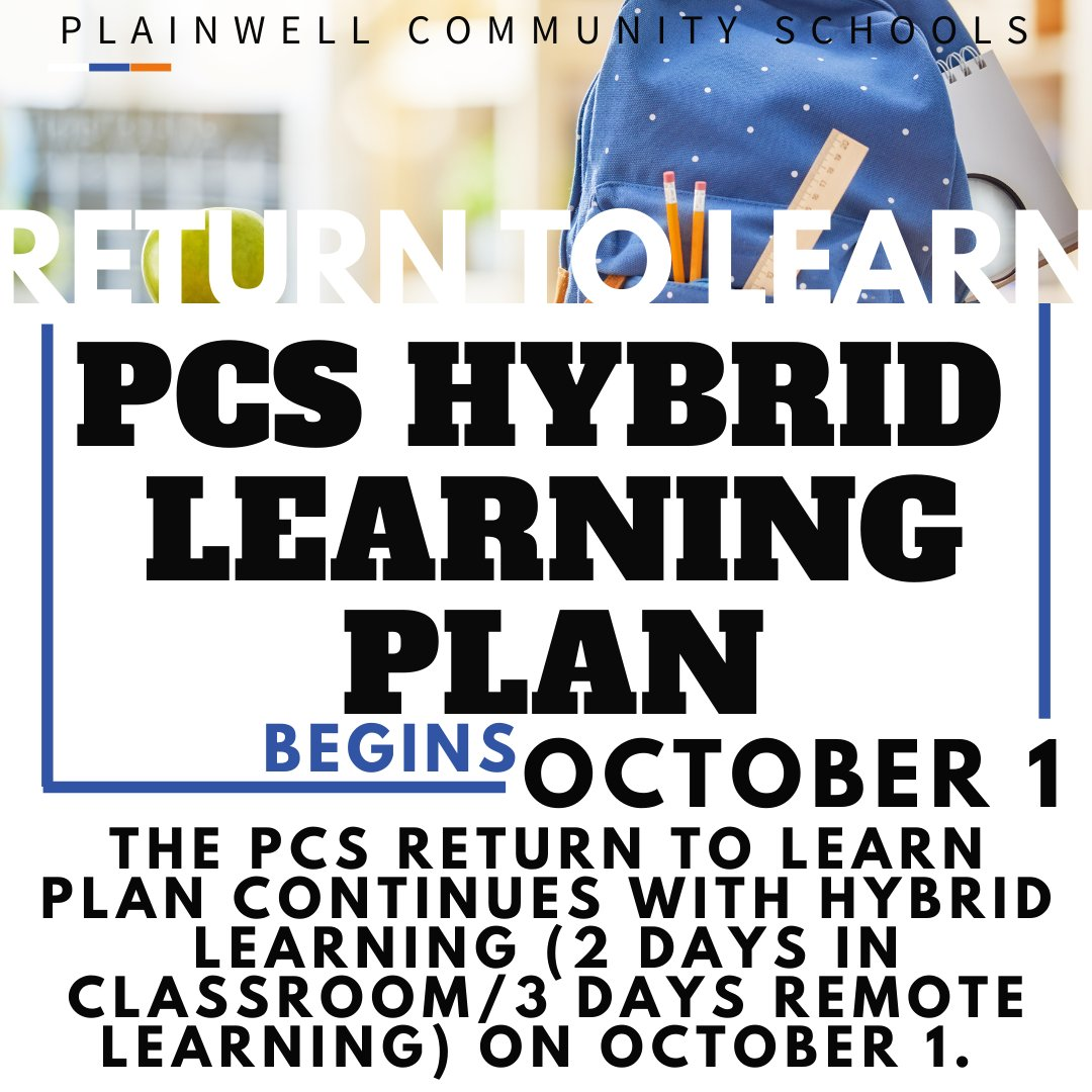 The PCS Return to Learn plan continues with Hybrid Learning on October 1.  Group A will begin on October 1st & Group B on October 2.  More information & details will be shared over the next few days.  We look forward to welcoming the PCS students back in the classroom next week!