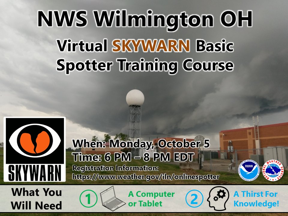There will be a virtual basic spotter training class October 5th from 6-8pm  The class is free and open to anyone.  Please register at: