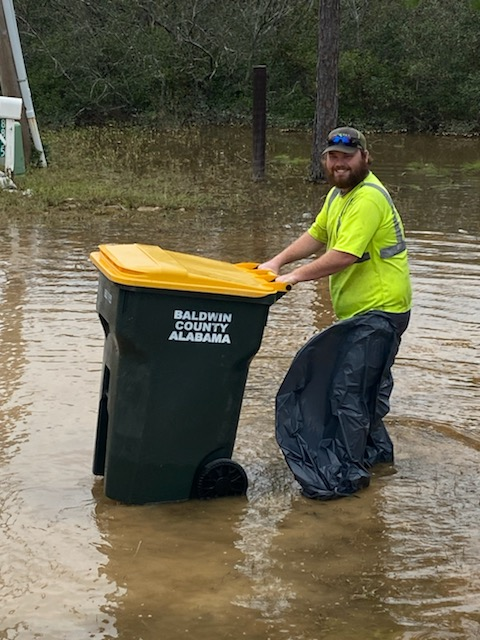 🗑️Baldwin County Solid Waste routes are back to their normal schedule this week, however some roads are still impassable. If you have any questions, please call us at 251-972-6878.  Zack and the rest of our dedicated BCSW crew are working hard for our citizens!