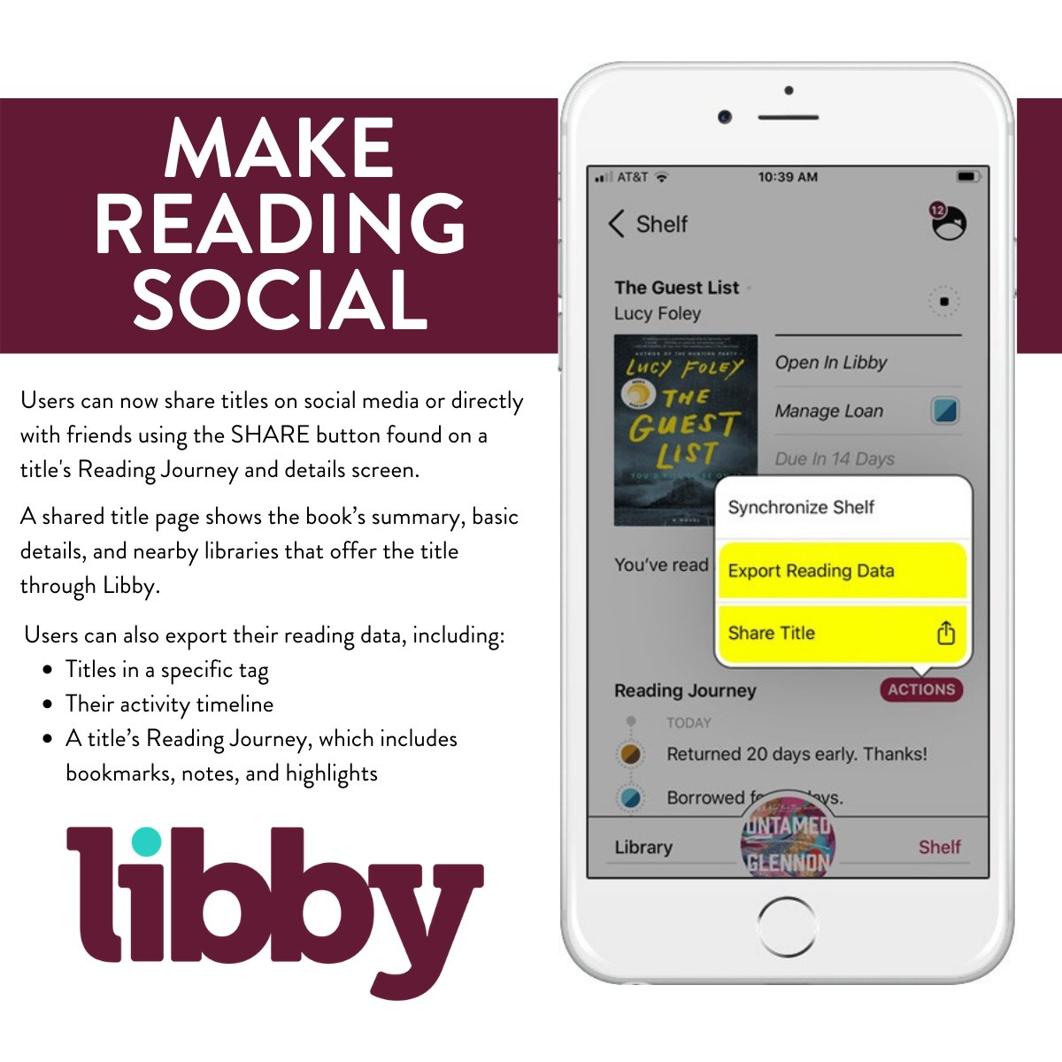 Now you can keep your friends updated on what you are reading with just one button! Start reading with Libby: