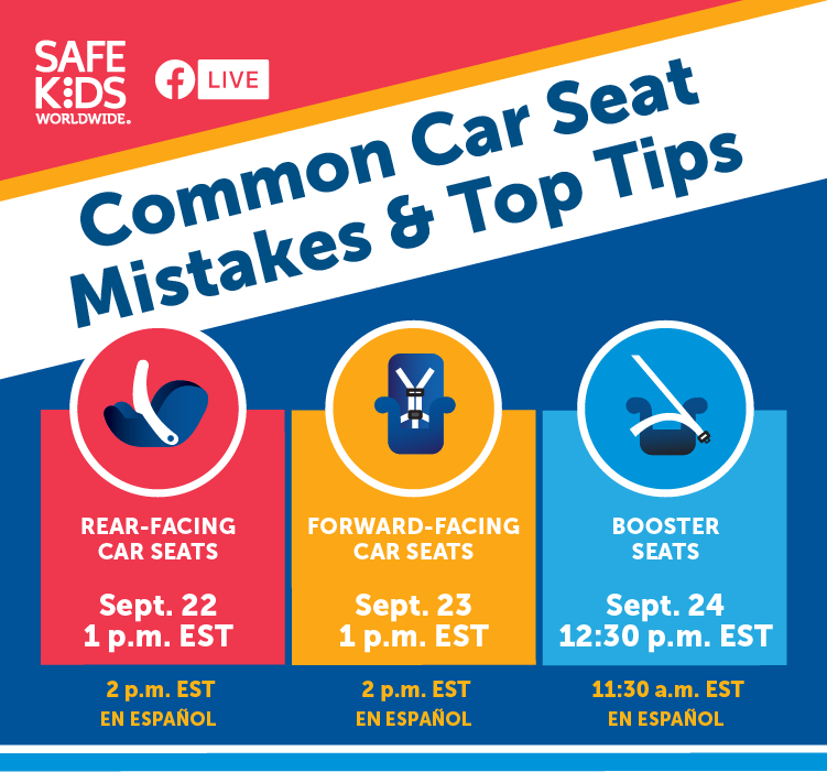 If you aren't able to make it out to our Car Seat Events this week, this is a great live event opportunity on Safe Kids Worldwide Facebook page!