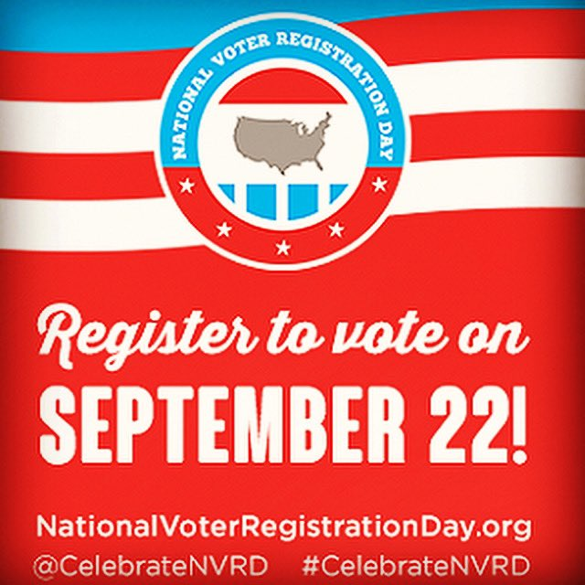 Are you #voteready? Today is #nationalvoterregistrationday - make sure your voice is heard by registering to vote!