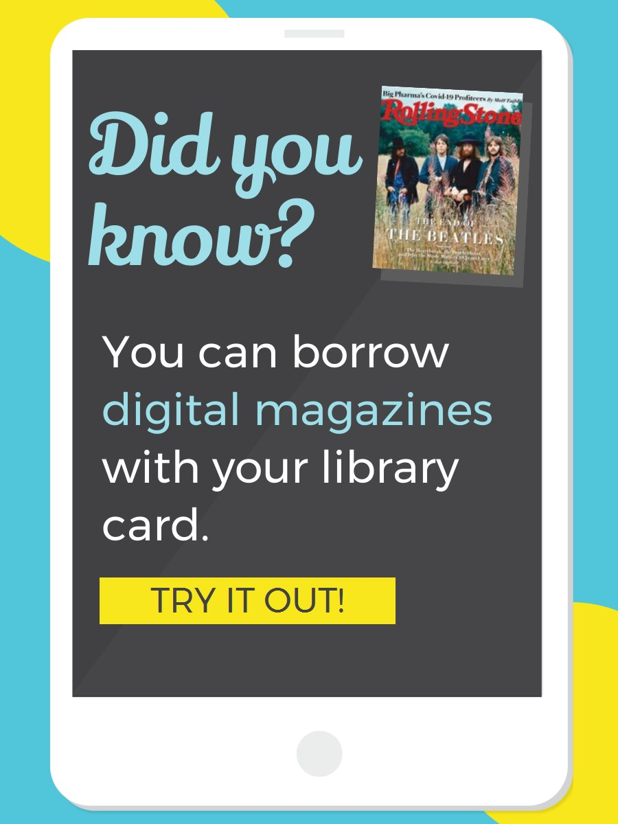 #TechTipsTuesday Enjoy #DigitalMagazines through your library using our RB Digital and Libby/Overdrive apps. Over 60 magazines to choose from! Learn more at:
