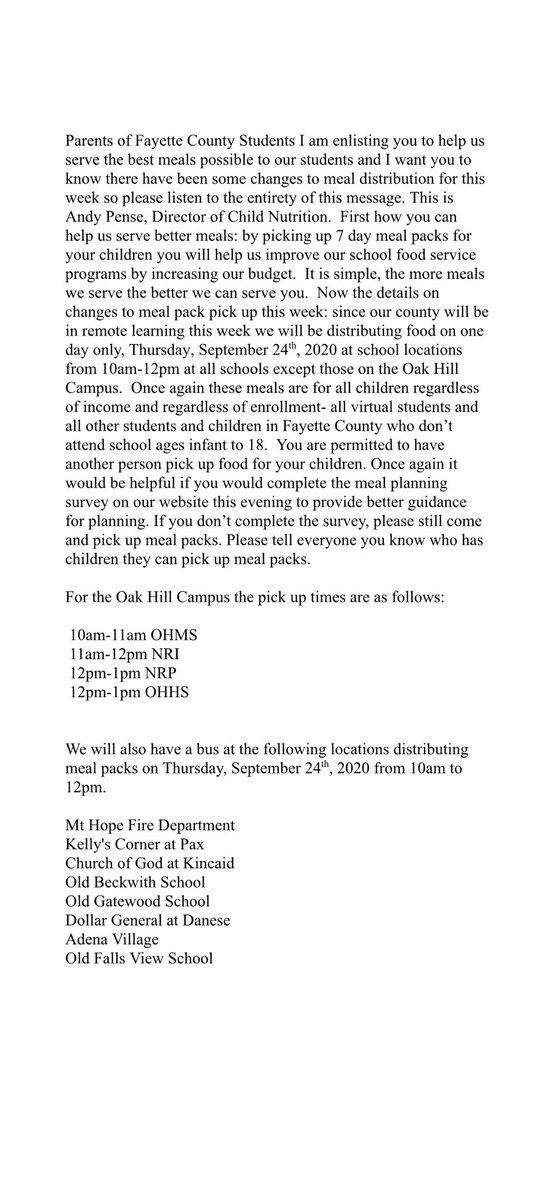 Food distribution plan for the week of September 21, 2020. #FayetteBridgeToSuccess