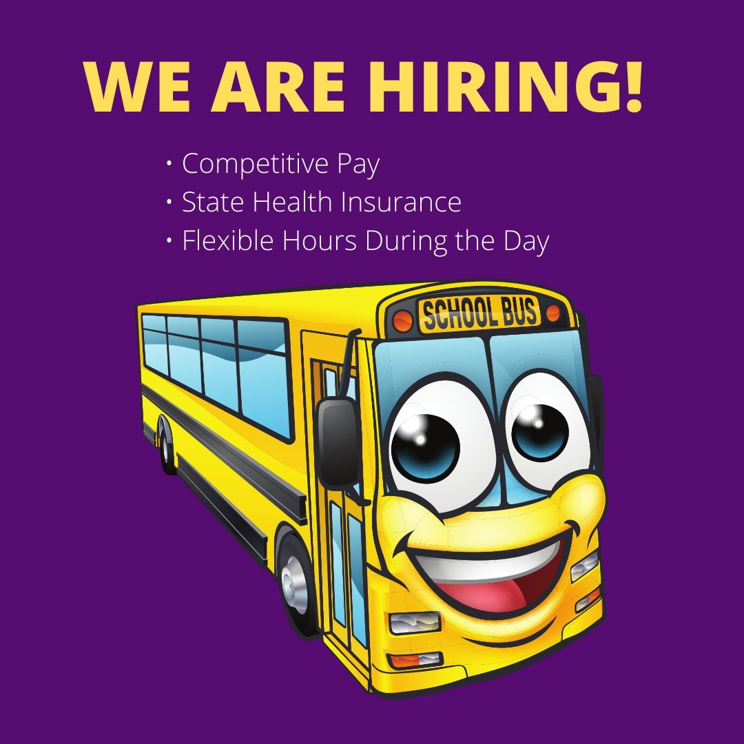 Cartersville City Schools is hiring full-time bus drivers! Driving a school bus is a great way to earn competitive pay, gain access to state health insurance and have flexible hours during the day. Call 770.387.5578 to apply.