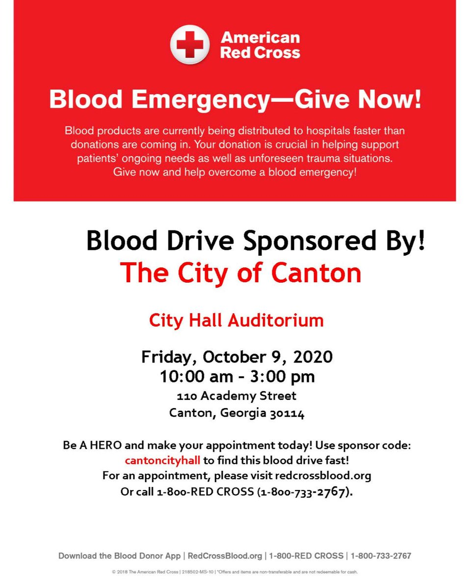 The City of Canton will host a blood drive on October 9 from 10 a.m. to 3 p.m. at City Hall.  To register, visit  and search sponsor code cantoncityhall