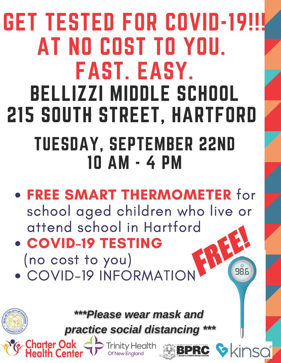 RT @Hartford311: Free testing for school age students and free thermometer at Bellizzi Middle School. Today!