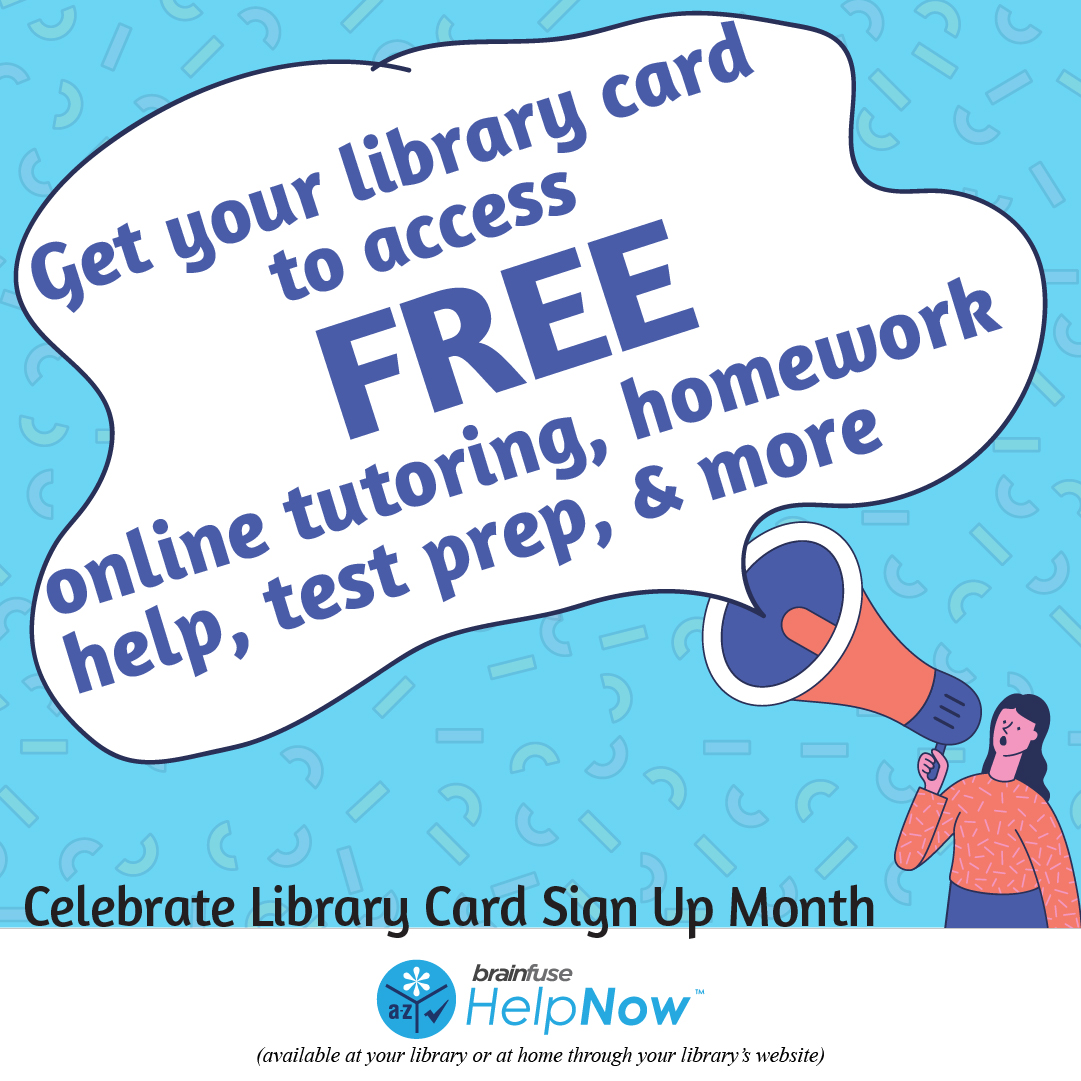 Looking for online tutoring? Look no further! Brainfuse HelpNow is here for you:   Get your library card online here:   Brainfuse #helpnow #online #tutoring #backtoschool #weloveourpatrons #librarylove