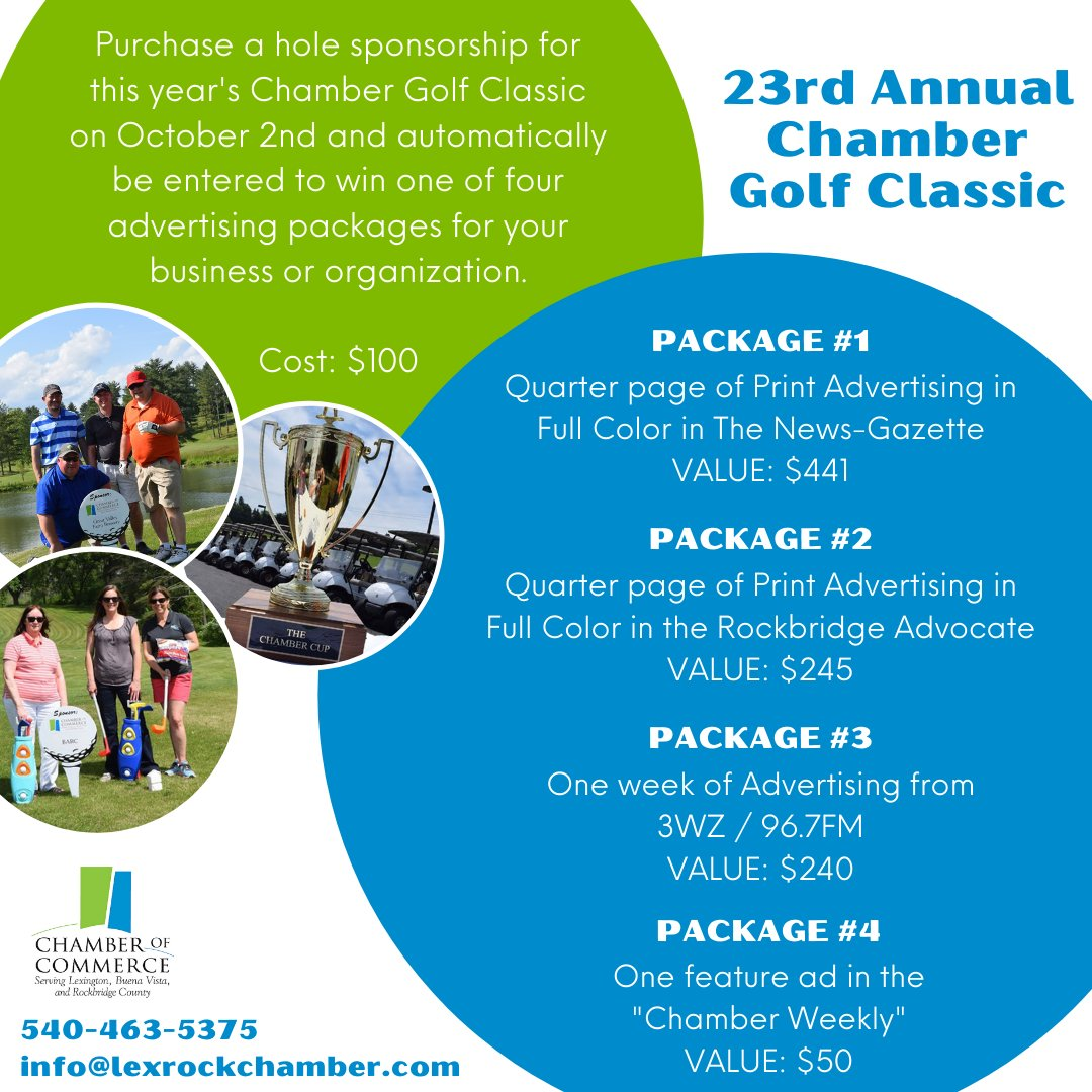 #ChamberNews ⛳️ Our annual Chamber Golf Classic is coming up on October 2nd, and we are currently selling hole sponsorships for $100 each. Your purchase enters you into a drawing for great advertising packages!  Call 540-463-5375 or email info@lexrockchamber.com today!