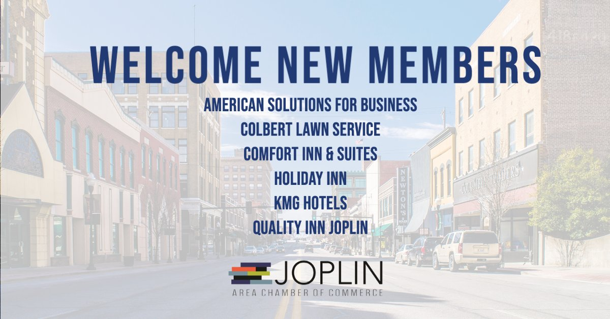 We are excited to welcome @americanbus, Colbert Lawn Service, Comfort Inn & Suites, Holiday Inn Holiday Inn, KMG Hotels, and Quality Inn Joplin as the newest members to the Chamber. For the most updated member listing visit our website,