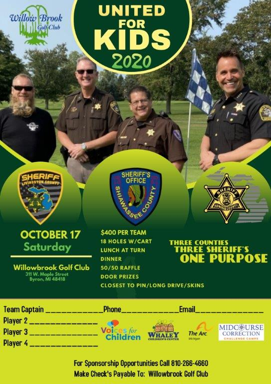 Please consider supporting 'United for Kids 2020' at the Willow Brook Golf Club in Byron on Saturday, October 17!  All the money will be split equally between the 4 charities.