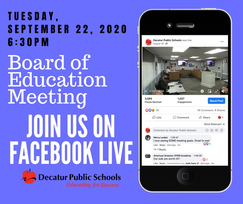 Be sure to watch tonight's Facebook LIVE feed of the Board of Education meeting!  Follow this link to the board agenda: