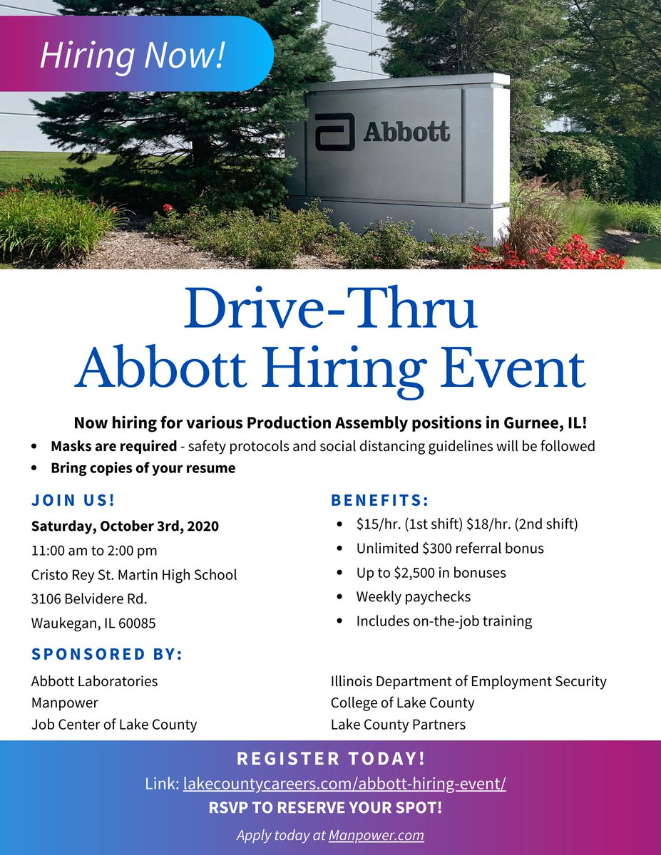 Join us on Saturday, October 3rd from 11 am to 2 pm for a Drive-Thru Abbott Hiring Event! They are hiring for various production assembly positions in Gurnee. RSVP to reserve your spot: