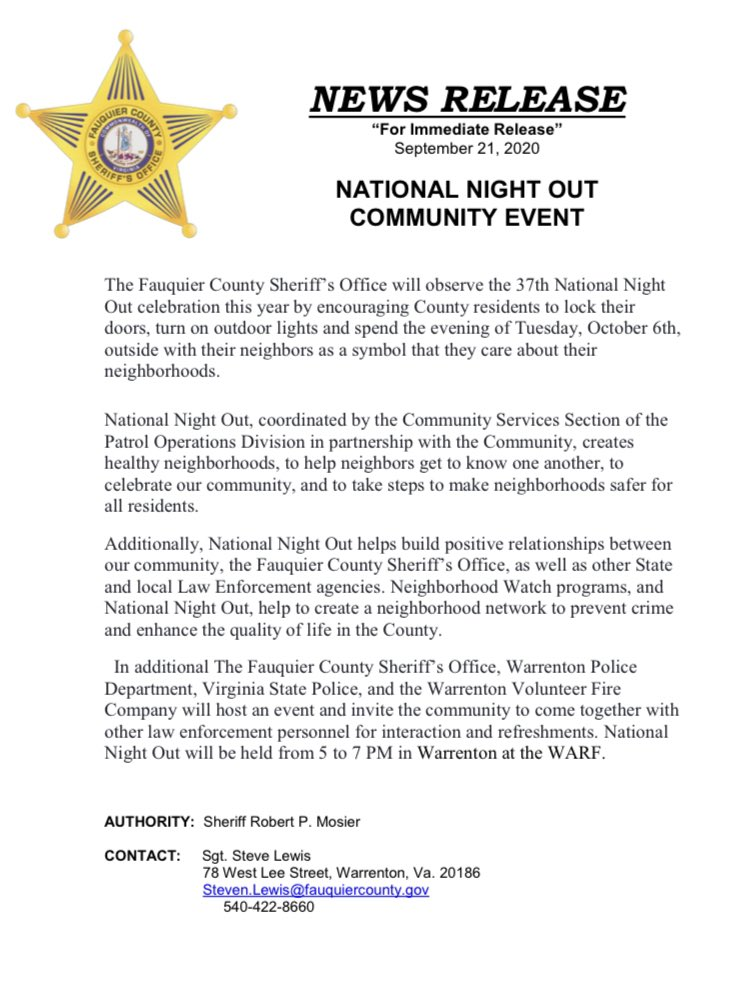 Fauquier County Sheriff's Office will be participating in the 37th Annual National Night Out Celebration on Tuesday, October 6th at the WARF.  See photos for details! 🚓🚑🚒
