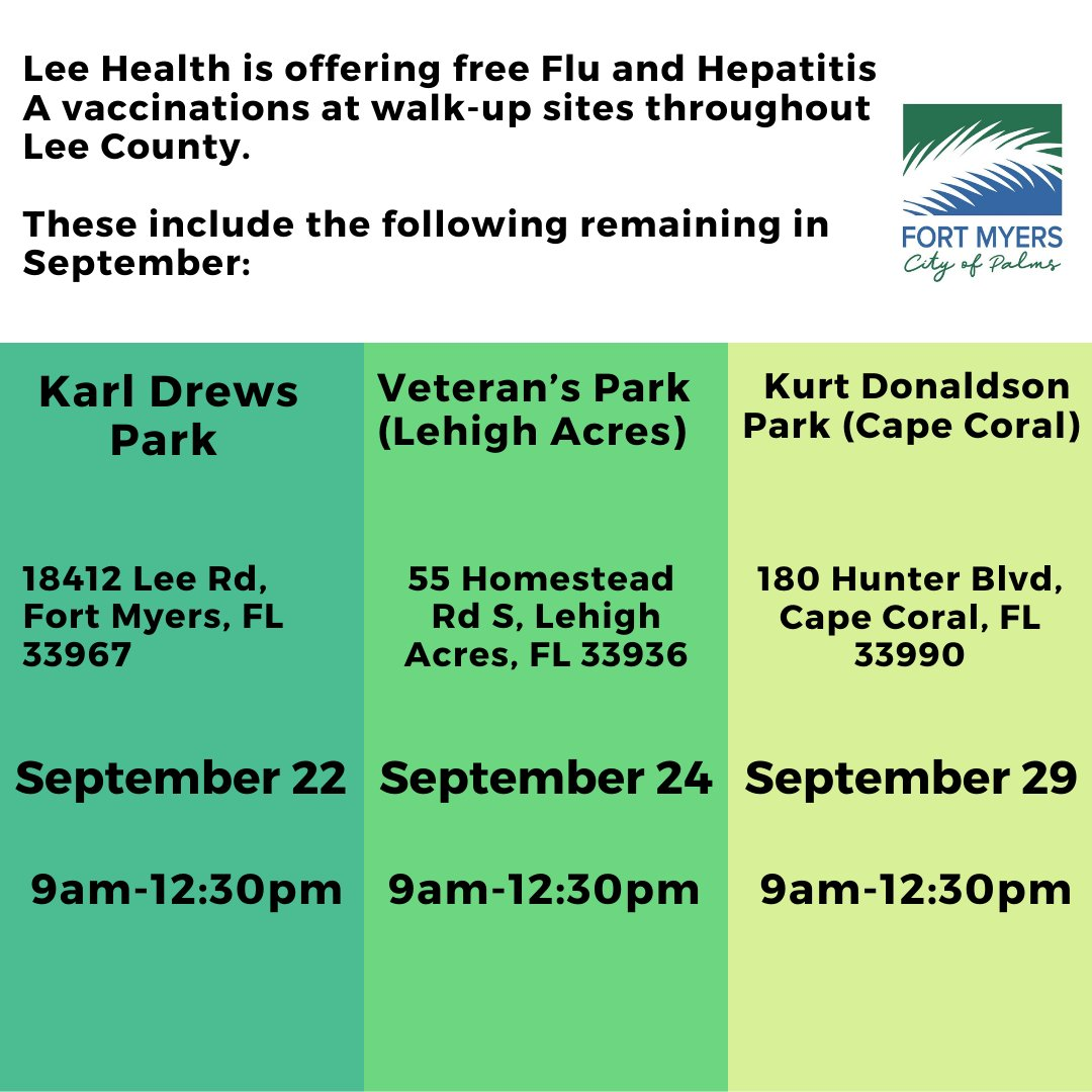 Lee Health is offering free Flu and Hepatitis A vaccinations at walk-up sites throughout Lee County. These include the following remaining in September.