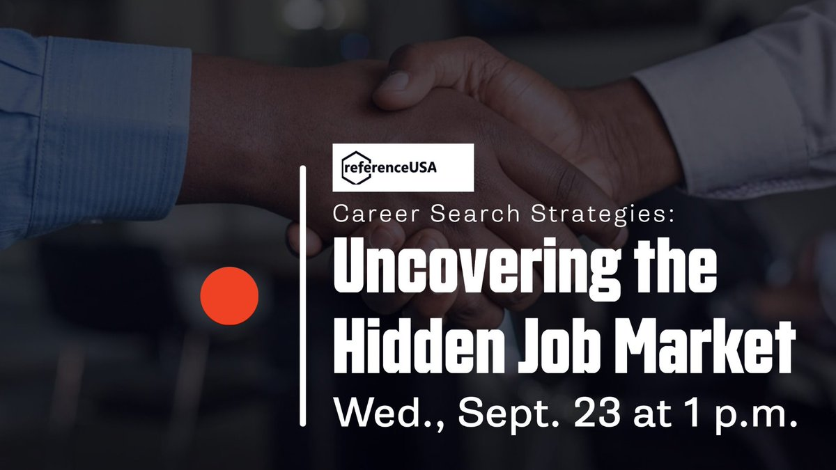 Job Seekers! Join us at 1 p.m. tomorrow, Sept. 23, for Career Search Strategies: Uncovering the Hidden Job Market with Reference Solutions. Participate via Zoom Webinar at  or watch on Facebook Live.  For more info visit .