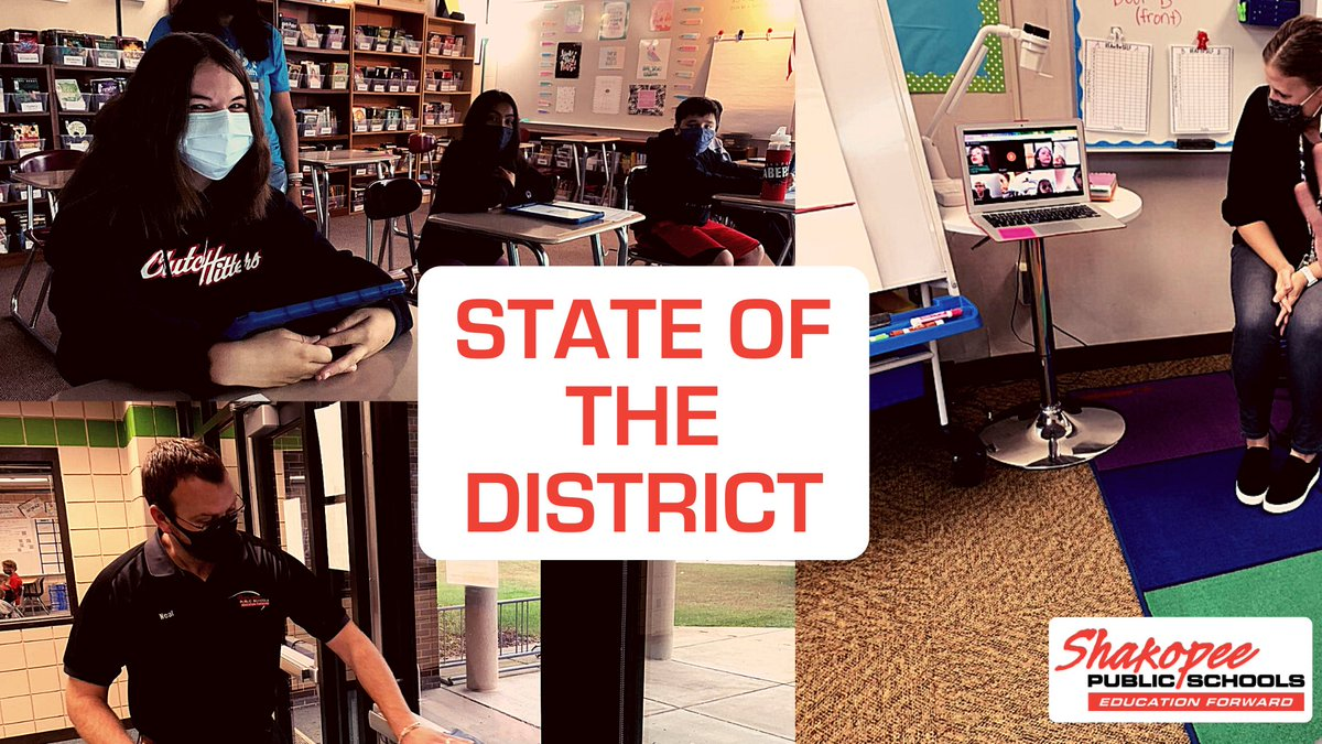 We look forward to seeing you at the Shakopee High School or having you tune into our district YouTube channel for tonight's State of the District session!  #saberpride @SHSAcademies