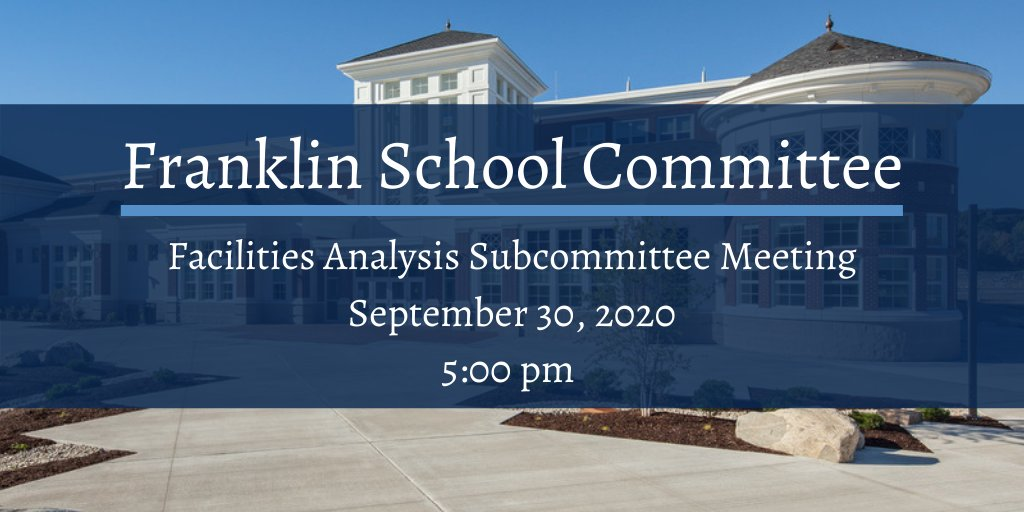 The agenda and links for the September 30th Facilities Analysis Subcommittee meeting can be found here