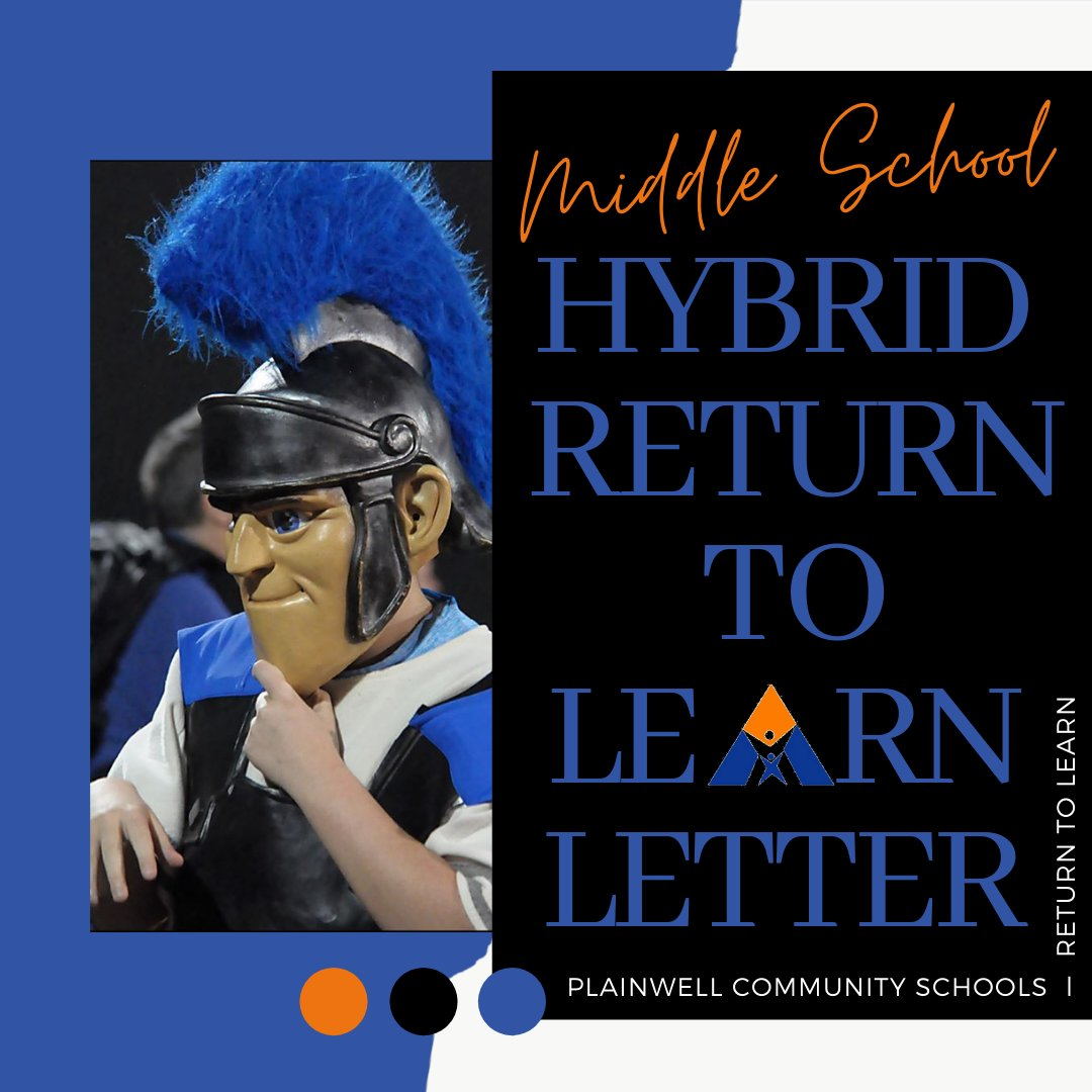 As we prepare for our Return to Learn in the Hybrid Learning Plan, please view this important letter from Plainwell Middle School:   .  We can't wait to welcome back the Middle School students next week!