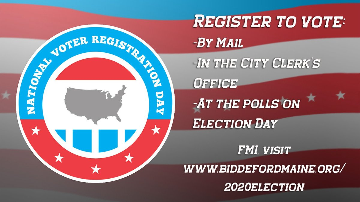 Today is #NationalVoterRegistrationDay! If you need to register to vote for the November 3, 2020 election, you can do so in person at the City Clerk's Office, by mail, or at the polls on Election Day. Learn more at .