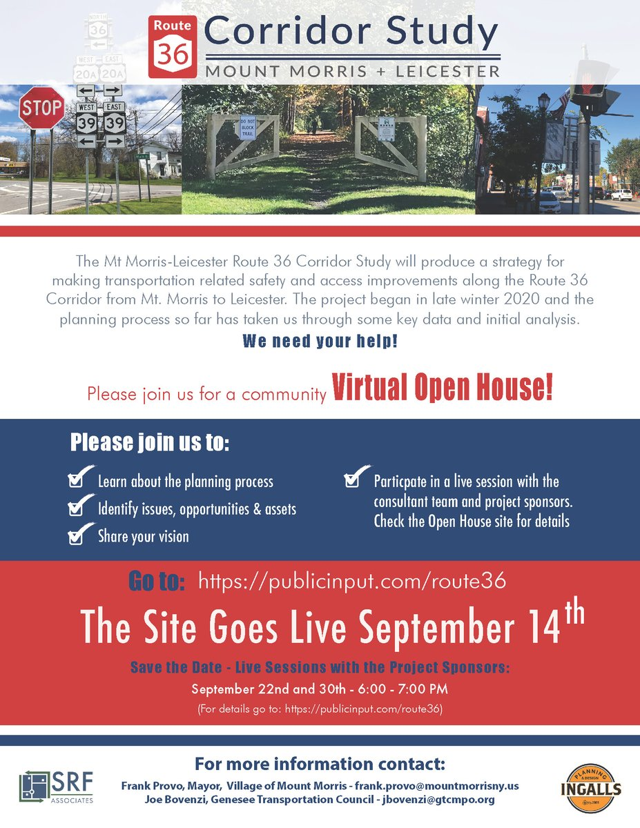VIRTUAL OPEN HOUSE: Visit  to share your vision for the Mount Morris-Leicester Route 36 Corridor. Live sessions with project sponsors will be held on September 22nd and 30th from 6PM - 7PM.