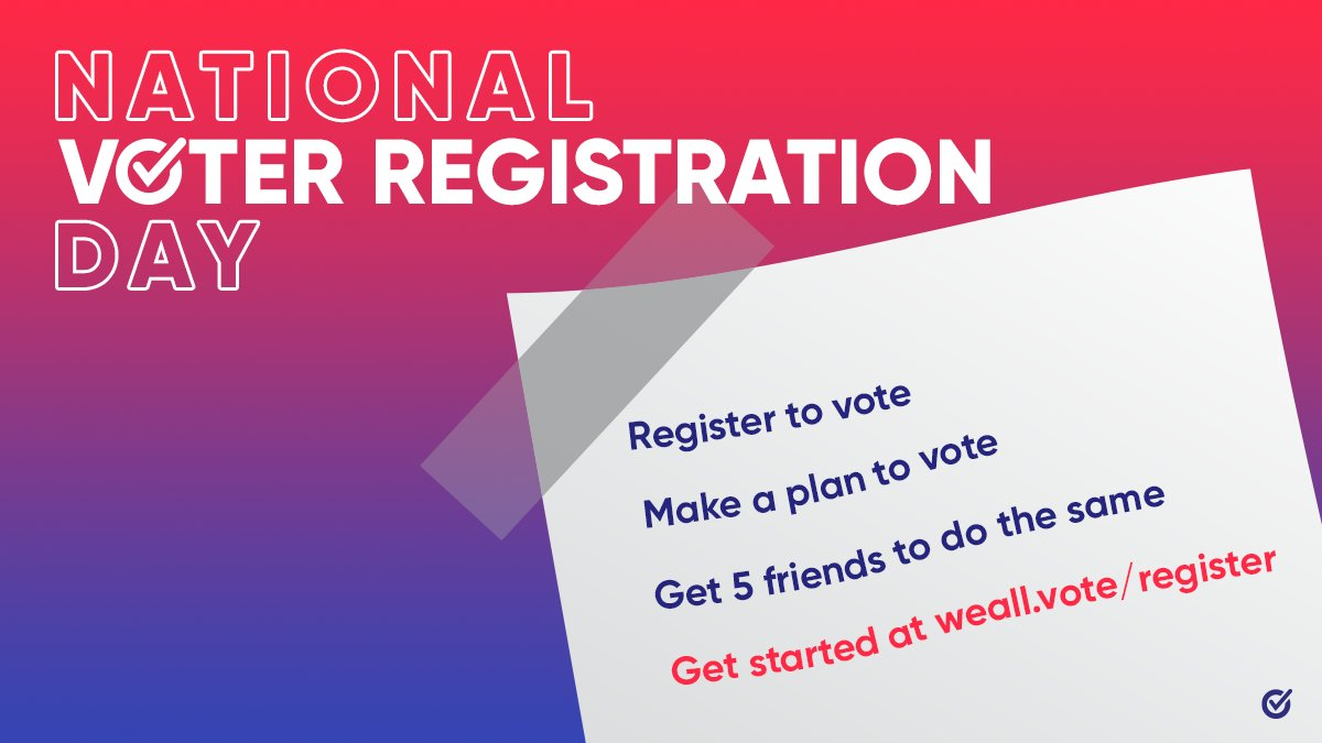 This #NationalVoterRegistrationDay, get registered and ready to vote with @WhenWeAllVote.   Then, tell 5 friends or neighbors to make sure they've done the same!   #ourmgm #montgomeryal